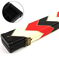 Luxury RED WHITE & BLACK 2pc Pool Snooker Cue Case - For Centre Joint Cues