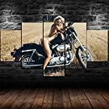 6Lv5Panel Stampe E Quadri su Tela Regalo Davidson Sex Hot Girl 5 Pezzi Stampa su Tela Wall Art Home Decor-100 * 55Cm-Senza Telaio
