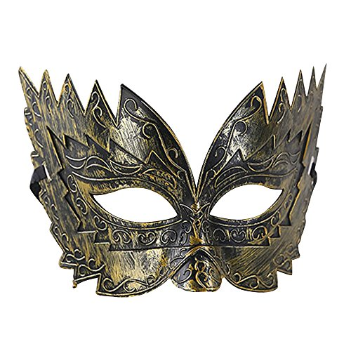 (Eizur Retro Maskerade Maske Nachahmung Metall Römisch Gladiator Halbe Gesichtsmaske für Halloween Party Karneval Kostüm Cosplay Requisiten Fasching Party Verrücktes Kleid Ball--Gold)