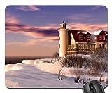 Winter Leuchtturm Mauspad, Mousepad (Leuchttürme Maus Pad) #001