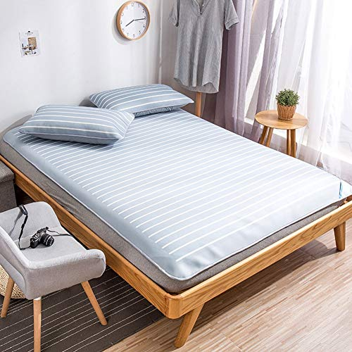 J Home textile Cooling Summer Matratze und Sleeping Pad Topper , Kissenbezug aus Eisseide, Twin, Full, Queen, King Size - Blau (Twin Matratze Topper)