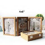 Xshelley rétro Home Bijoux, Cadeaux, 3Solid Woodframe double Cadre pliant double face, cadre photo 180degrés de rotation, Creative Studio photo Album, Bois dense, 4X6