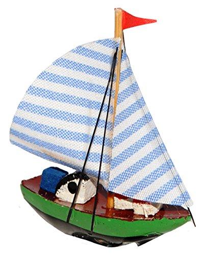 """Preisvergleich Produktbild 1 Stück _ Segelschiff Schiff - """" blau Streifen """" - Boot aus Holz - Miniatur Fregatte - Diorama - z.B. für Puppenstube Küche - Maßstab 1:12 Puppenhaus / Segelboot / Fischerboot _ Yacht - Schiffsreise / Schifffahrt Kreuzfahrt - Schiffe 1 Master"""