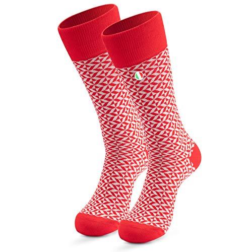 Männer Muster Socks 1-Paar | Cool Bunt Gestreift Motiv Business Baumwollsocken| Lange Trendige Socken Gr 39-42 43-46