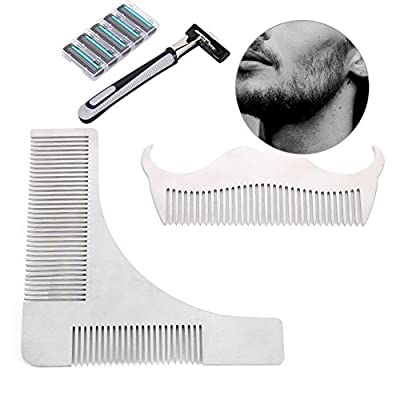 Zjchao Beard Comb, Hair Remover Mustache Grooming Kit Professional Stainless Steel Trim Template Men's Whiskers Shaping Tool( 2 Combs +1 Hair Remover with 6 Blades )