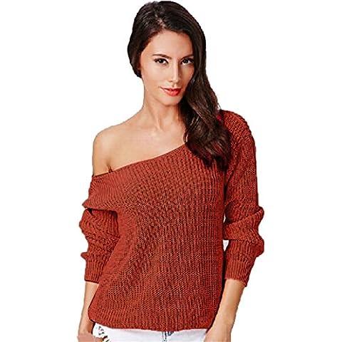 Xinantime Natale Donna Allentato Manica lunga Autunno Inverno Maglione Oversize Camicia Top (rosso, XL)