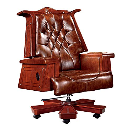XUE Executive Chair, President Chair Vintage Wood Reclining Leather Boss Chair Managerial Chair Computer Chair Chair 360 Degree Swivel for Home -