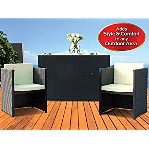 51RMCY6JmHL. SS300  - Garden 3pc 2 Seat Rattan Breakfast Bar Chair Bench with Glass Table Piece Patio Furniture Coffee Table Vase Dining Eating Picnic Table Set & Neat Tidy Beautiful Contemporary Outdoor Living Garden Conservatory Patio Summer Sunny Innovative