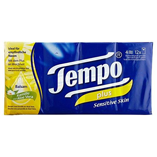 Tempo Taschentücher Plus, 4-lagige Papiertücher in bewährter Tempo Qualität mit Aloe Vera und Kamille, 12 x 9 Tücher (108 Tücher)
