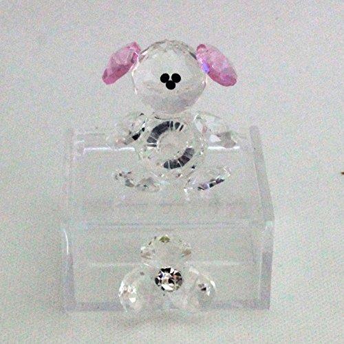 Dlm25761 scatoline in plexiglas con orsetto e fiore in cristallo rosa (kit 6 pezzi) bomboniera