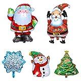 iitrust Weihnachten Deko, 5 Stück Aluminiumfolie Weihnachtsballon | Schneemann, Weihnachtsmann, Schneeflocke, Weihnachtsbaum (Groß)