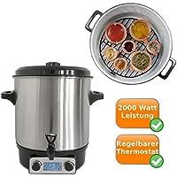 Digitaler Edelstahl Einkochtopf nutzbar als Glühweintopf, Einwecktopf, Suppen-Kochtopf, Würstchen-Topf, mit Zapfhahn und einem Fassungsvermögen von 27Litern, auch für Suppen und Heißgetränke geeignet