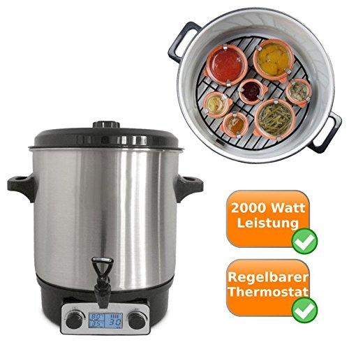 elektrischer topf mit thermostat Digitaler Edelstahl Einkochtopf nutzbar als Glühweintopf, Einwecktopf, Suppen-Kochtopf, Würstchen-Topf, mit Zapfhahn und einem Fassungsvermögen von 27Litern, auch für Suppen und Heißgetränke geeignet