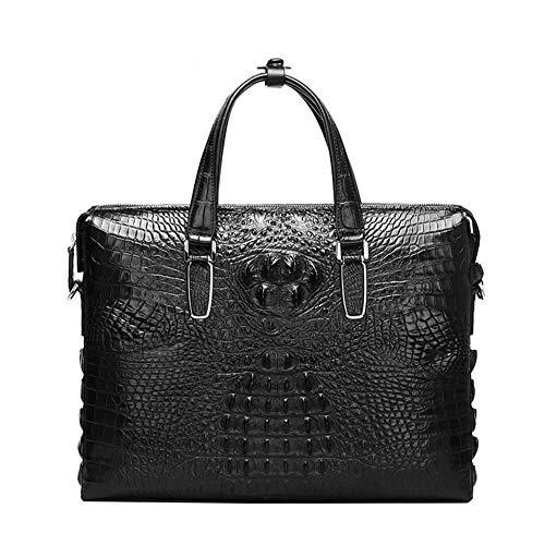 Business Herren Handtasche Echtes Leder Taschen Krokodil geprägte Rindsleder Geldbörse und Handtaschen,Black-13 inches - Krokodil Geprägtes Leder Handtasche