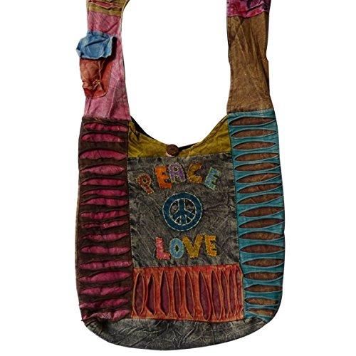 Patchwork Borsa Da Donna Borsa marsupio Borsa a tracolla borsa a tracolla Hippie Shopper ricamato - Arricciatura, , Einheitsgröße Peace-Love