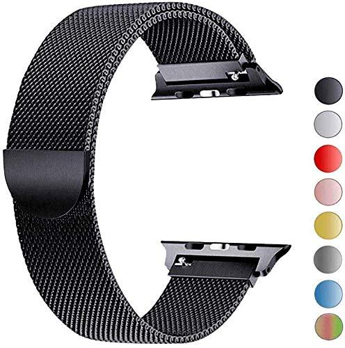VIKATech Ersatzarmband kompatibel mit Apple Watch Armband 44mm 42mm | Edelstahl Armband | Smartwatch Ersatzarmbänder mit Magnet kompatibel mit iWatch Series 5/4/3/2/1 Schwarz