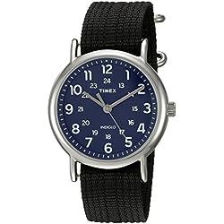 Timex Weekender Blue/Black Nylon Slip-Thru Strap Watch