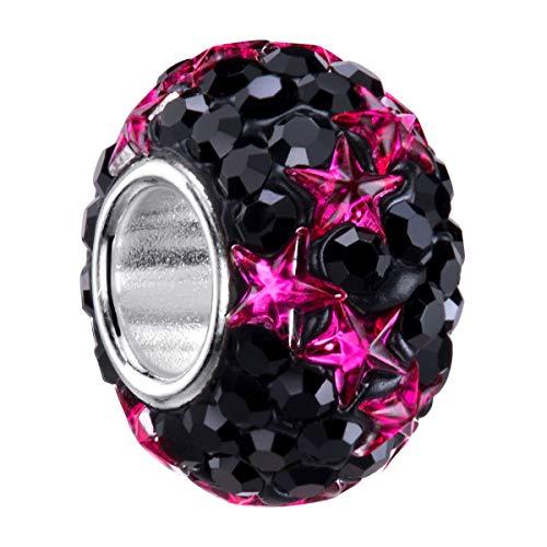 MATERIA Kristall Bead Perle schwarz Sterne pink - 925 Silber Charms Perle Glitzer Charms Schmuck #1606 - Silber Kugel Mit Hülse