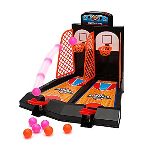 Tabletop Mini Basketball Shooting Game 2 Players Shootout Hoops Basketball Game with Scoring Device for Children by Wishtime