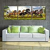 RomantiassLu Moderne Leinwand Malerei Wand Ohne Rahmen 3 Panel Pentium 8 Pferd Poster HD Print Pferd Bild Für Wohnzimmer Dekoration Kein Gestaltet