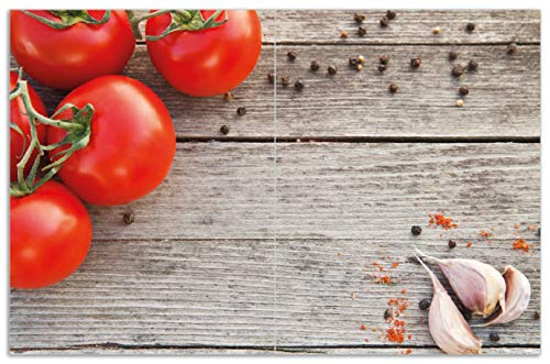 Wallario Herdabdeckplatte/Spritzschutz aus Glas, 2-teilig, 80x52cm, für Ceran- und Induktionsherde, Motiv Tomaten und Gewürze auf altem Holztisch