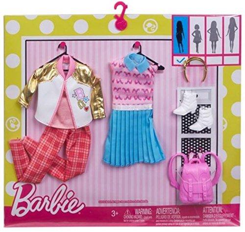 Original Mattel Barbie Kleider Set, inkl. Zubehör wie Schuhe, Handtasche, Schmuck oder Accesoires (FBB79 2-er Pack Schulmoden, mit Metallic-Jacke, Schultasche und Haarreifen)