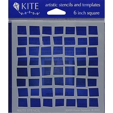 Judikins Judikins Kite-Set di 6 Stencil, motivo: Funky Squares