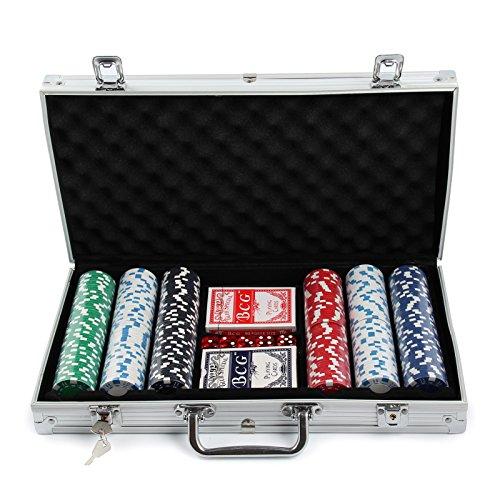 MultiWare 300 Pcs Jetons De Poker Jeu De Casino Malette En Aluminium Avec 2 Jeux De Cartes
