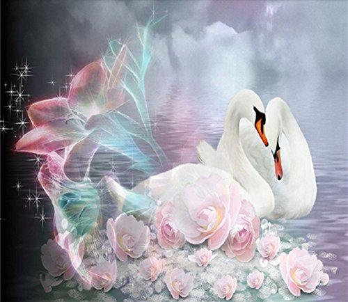 5D DIY Diamond Painting Cross Stitch, Decoration of House Living Room,Swan couple,Animals