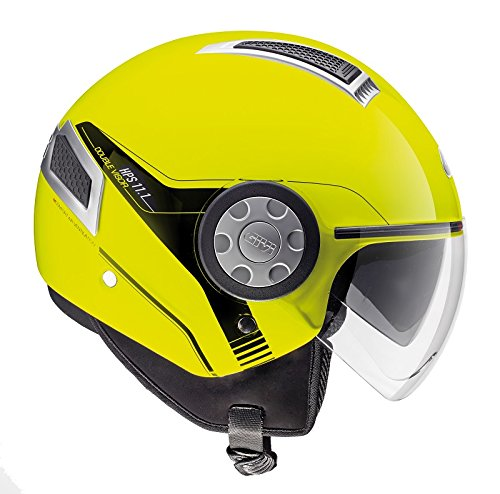 Givi H111BG12660 Hps 11.1 Air Deni Jet Casco, Color Amarillo Neón, Talla 60/L