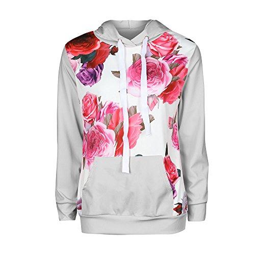 Old Navy Gingham Shirt (iHENGH Sweatshirt, Damen Lange Ärmel Floral Print Hoodie Sweatshirt Kapuzen Pullover Tops Bluse S-XL)