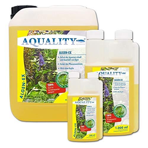 AQUALITY Algen-EX (Erstklassiger Algenvernichter, Algenmittel, Algenentferner, Algenstopp für Ihr Aquarium - Befreit Sie von Fadenalgen, Bartalgen, Kieselalgen, Blau- und Schmieralgen), Inhalt:1 Liter