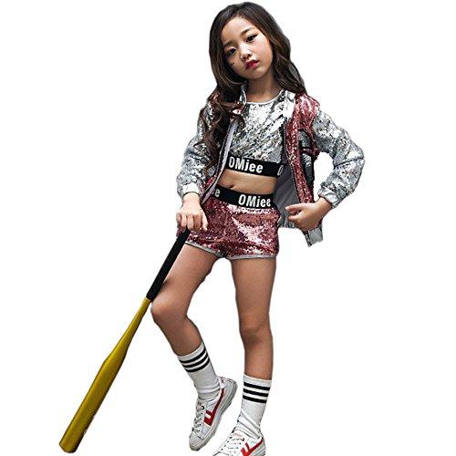 VoleseniTM Mädchen Kinder Modern Jazz Hip-Hop Dancewear Kids Dance Pailletten Mantel Kostüm, Rose, 150 ()