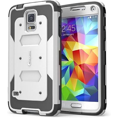 Carcasa para Samsung Galaxy S5 (lanzamiento en 2014), Funda serie i-Blason Armorbox con protector para la pantalla integrada [protección rubusta] con cubierta antigolpes y reductor de impactos (Blanco)