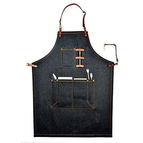 Schürze in Denim-Stil mit mehreren Aussparungen für den Heimgebrauch, sowie zum Arbeiten in einem Coffee-Shop, schwarz (Schürze Baumwolle Natürliche)