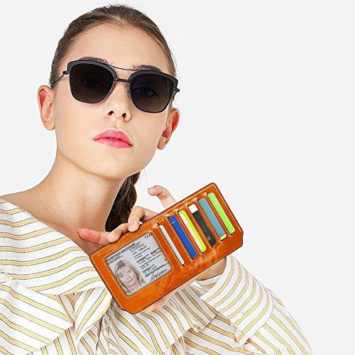 Portafoglio Donna, Portafoglio In Pelle con Protezione RFID, Porta Carte di Credito con Portamonete, Portafogli con Porta Biglietti da Visita, Porta Banconote, Wallet Porta Monete, Regalo