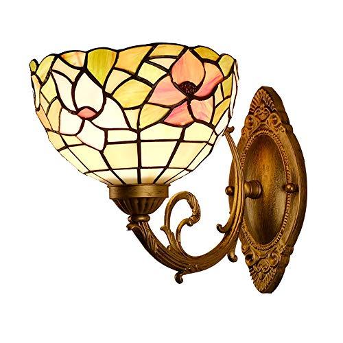 Jugendstil Eisen Floral (8 Zoll Wandlampen, Schlafzimmer Deco Vintage europäischen pastoralen Glasmalerei Schatten Eisen E27 Leuchte Wandlampen,Floral)