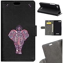 Funda Libro Wiko Lenny 2 BeCool Wallet Elefante