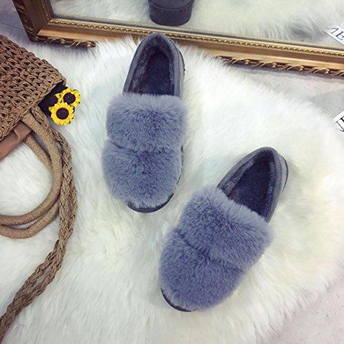 Longra Donne Velluto di colore solido mantenere caldo scarpe di lusso cotone imbottito Grigio