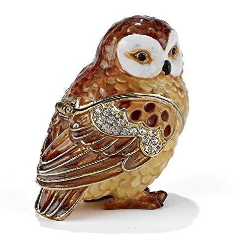 Brown and White Owl Bejeweled Enamel Jewelry Trinket Keepsake Box Container Bird -