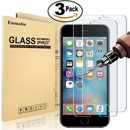 [3 Pièces] Verre Trempé pour iPhone 6S 6, Emmabin Film Protection en Verre trempé écran Protecteur Vitre- ANTI RAYURES - SANS BULLES D