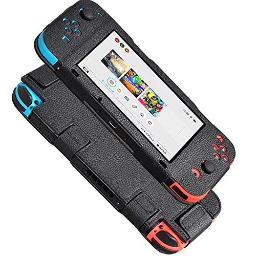 KATUMO® Nintendo Switch Cover Premium PU Leder Hülle für Nintendo Switch Schutzhülle mit Multi-Winkel Ständer und Clip Funktion,schwarz