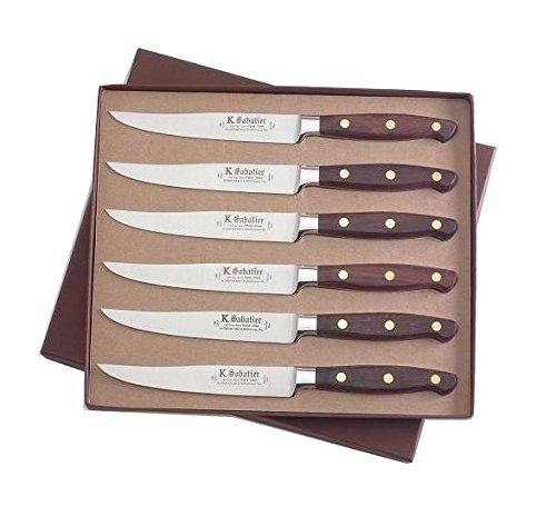 K Sabatier - Coffret De 6 Steaks 13 Cm K Sabatier - Gamme Elegance - Acier Inoxydable - Manche Bois - 100% Forge - Entièrement Fabrique En France