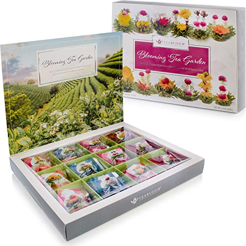 Teabloom Flowering Tea Chest - Finest Quality Blooming Tea Collection from The World's Most Beautiful Gardens - 12 Best-Selling Varieties of Flowering Teas Packaged in Beautiful Gift-Ready Tea Box
