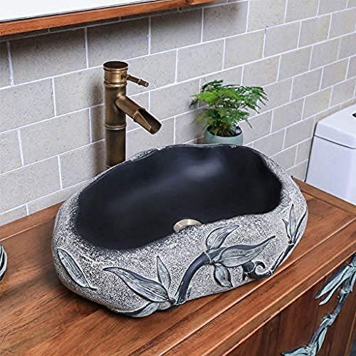 Gorheh Geformtes, Geschnitztes Steinwaschbecken Kleines Kunstwaschbecken Waschbecken Für Badezimmer Waschbecken Für Badezimmer Wasserhahn Eingestellt