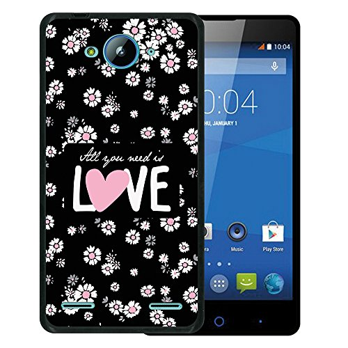 WoowCase ZTE Blade L3 Plus Hülle, Handyhülle Silikon für [ ZTE Blade L3 Plus ] Blumen mit dem Satz - All Your Need is Love Handytasche Handy Cover Case Schutzhülle Flexible TPU - Schwarz