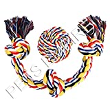 #8: Dog Rope Toys Cotton Blend 3-Knot Tug Chew Toys + Knotted Ball - Best for Tug of War or Fetch - Suitable for Medium and Large Dogs Chewing and Playing - 2 Pack Gift Set