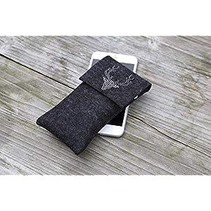 zigbaxx Handyhülle Filz Handytasche WOOD STAR für iPhone X 10 / Xs, iPhone Xs Max/XR / Smartphone-Hülle handmade Wollfilz/Hirsch Strass – pink anthrazit-schwarz beige grau braun Geschenk Weihnachten
