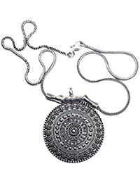 Urban Spirit Trendy Oxidized Silver Necklace Made From German Silver For Girls | CIRCLES PENDANT