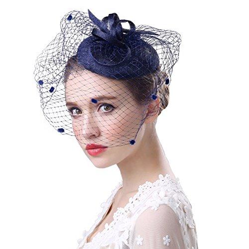 Fascinator Hüte 20er 50er Jahre Hut Haar Clip Accessoire Haarreif Kopfbedeckung mit Schleier Cocktail Tea Party Hochzeit Kirche Haarschmuck Kopfschmuck für...